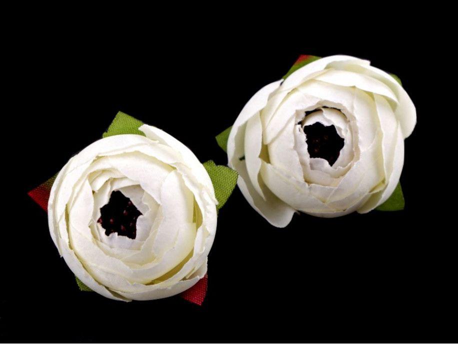 kwiat sztuczny jaskier biały 2 szt.