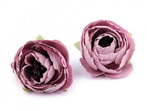kwiat sztuczny jaskier stary róż 2 szt.