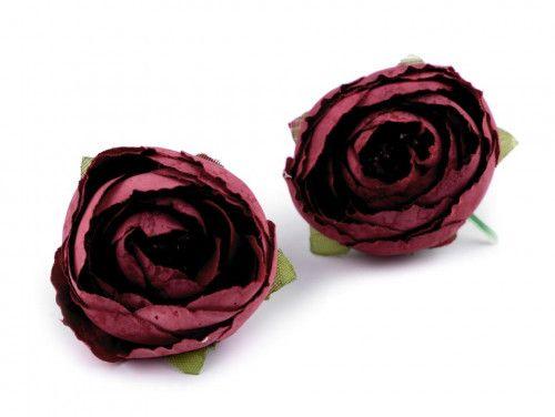 kwiat sztuczny jaskier bordowy 2 szt.