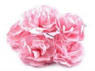 sztuczne goździki różowe 3 sztuki