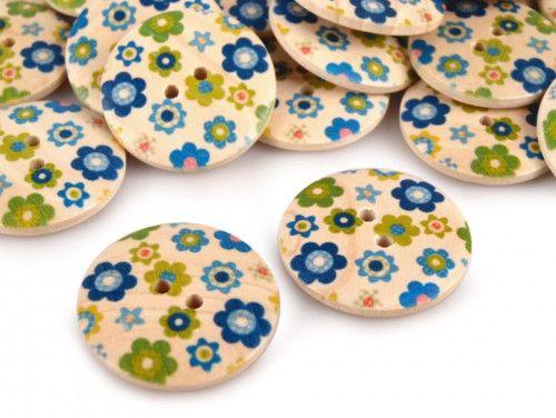 Guzik drewniany kwiaty niebieskie