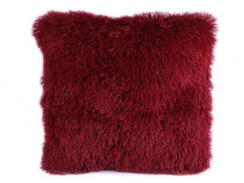 poszewka na poduszkę włochata bordowa