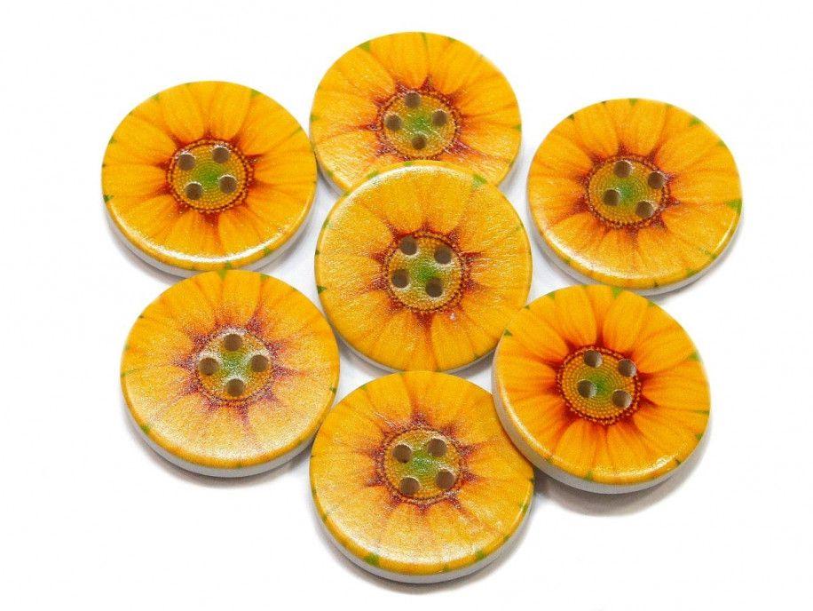 Guzik drewniany słonecznik