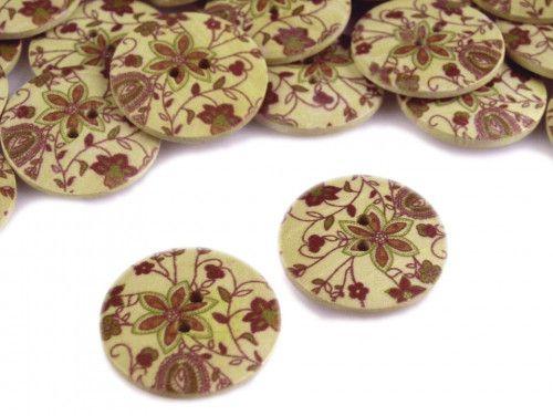 Guzik drewniany kwiaty brązowe