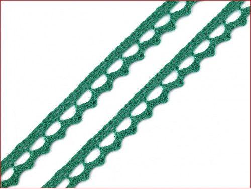 koronka bawełniana 9 mm zielona