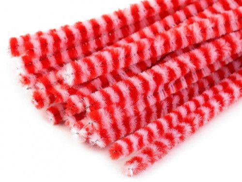 drut pluszowy prążkowany czerwony op.10
