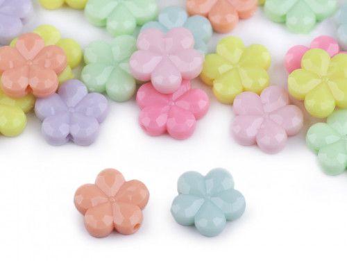koraliki kwiatki mix pastelowe