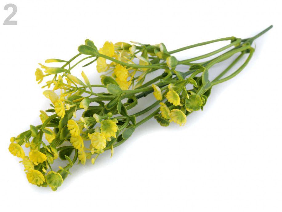 sztuczna gałązka z kwiatami żółta