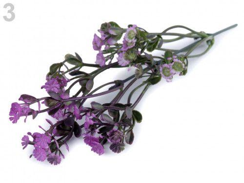 sztuczna gałązka z kwiatami fioletowa