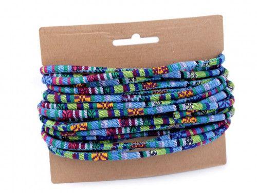 sznurek bawełniany 6mm -etno-niebieski