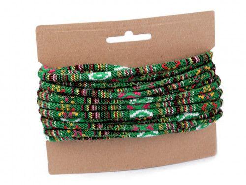 sznurek bawełniany 6mm -etno-zielony