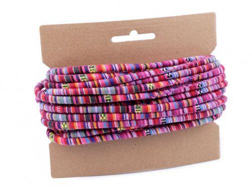 sznurek bawełniany 6mm -etno-różowy