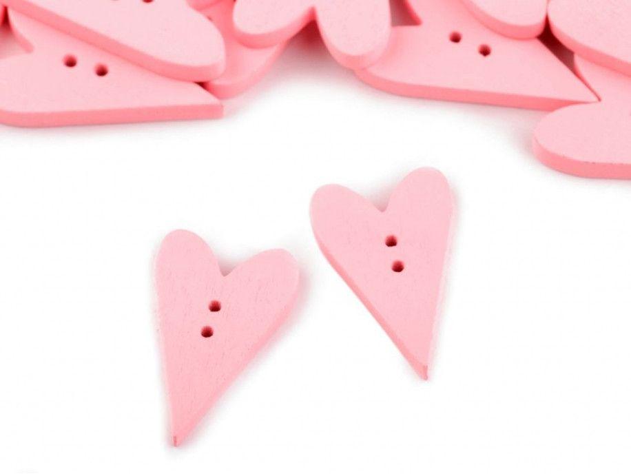 Guzik drewniany serce różowe