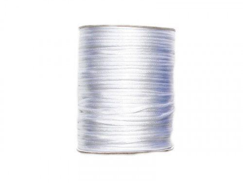 sznurek satynowy 2mm biały szpula 100m