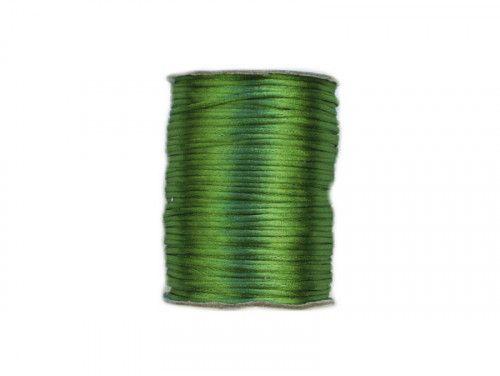 sznurek satynowy 2 mm zielony szpula 100m