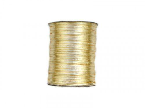 sznurek satynowy 2 mm złoty szpula 100m