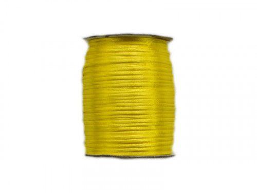 sznurek satynowy 2 mm cytrynowy szpula 100m