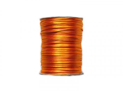sznurek satynowy 2 mm pomarańczowy szpula 100m