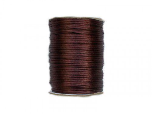 sznurek satynowy 2 mm brązowy szpula 100m