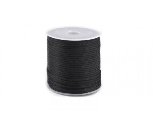 sznurek satynowy 2 mm czarny szpula 100m