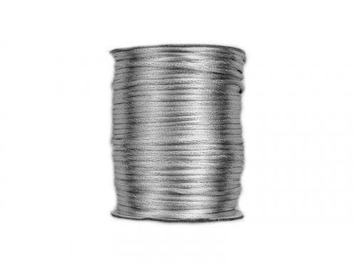 sznurek satynowy 2 mm srebrny szpula 100m