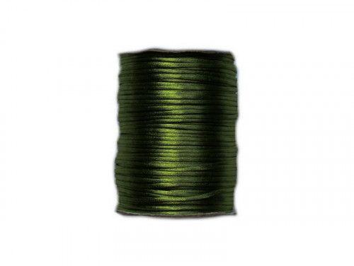 sznurek satynowy 2 mm shamballa butelkowy zielony