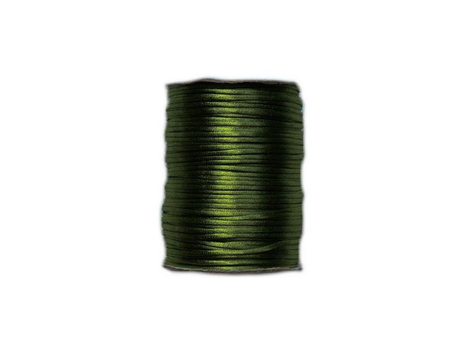 sznurek satynowy 2 mm butelkowy zielony szpula 100m