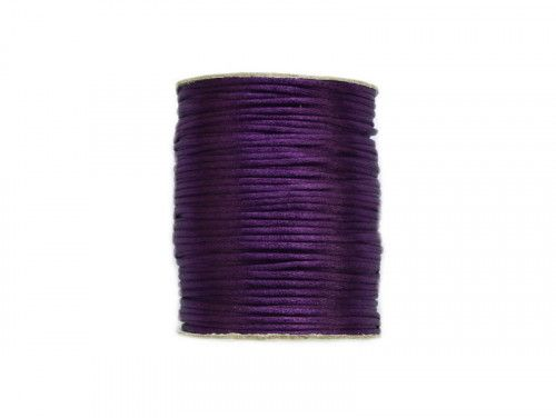sznurek satynowy 2 mm fioletowy szpula 100m