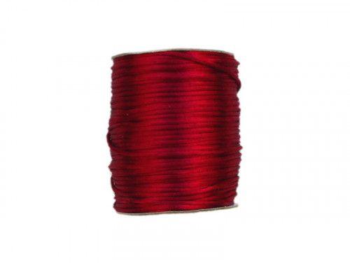 sznurek satynowy 2 mm ciemny czerwony szpula 100m