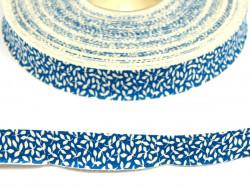 wstążka bawełniana niebieska listki