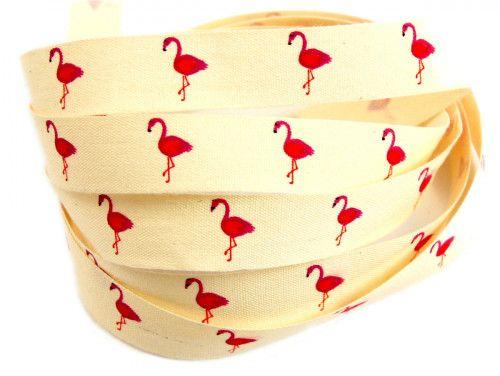 wstążka bawełniana flamingi