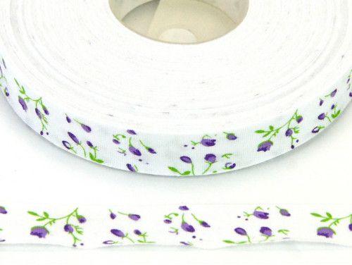 wstążka bawełniana kwiatki fioletowe