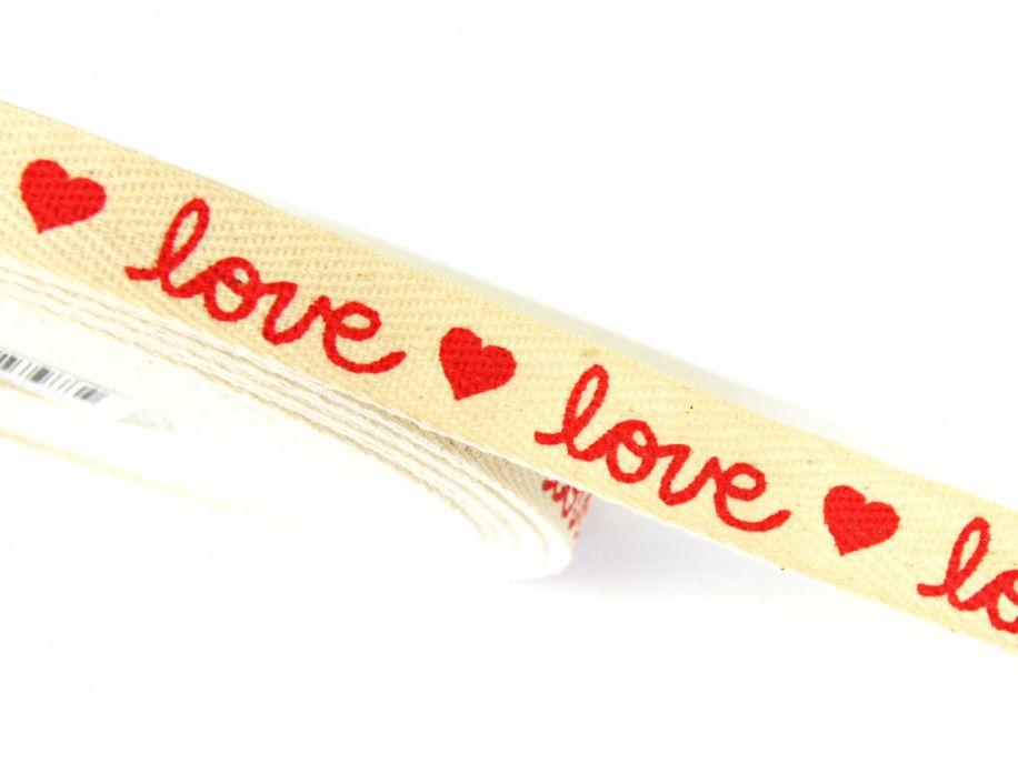 wstążka taśma bawełniana love