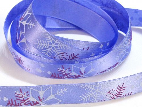 wstążka satynowa płatki śniegu fioletowe
