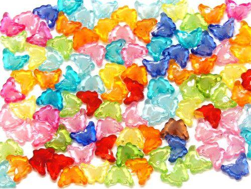 koraliki akrylowe motylki mix kolorów