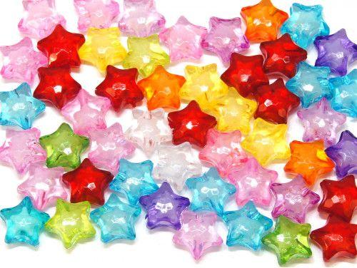 koraliki akrylowe gwiazdki mix kolorów