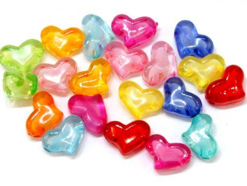 koraliki akrylowe serca mix kolorów