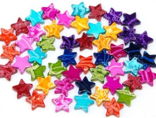 koraliki akrylowe gwiazdeczki mazaje mix