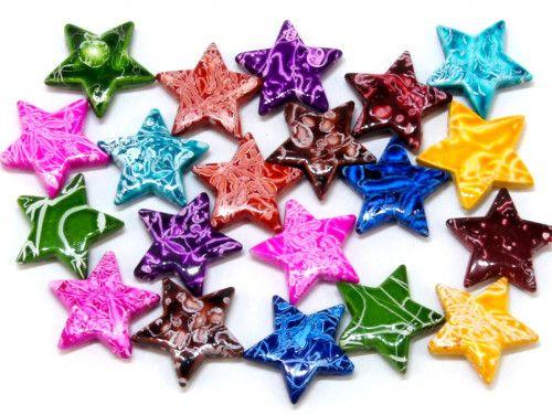 koraliki akrylowe gwiazdy mazaje mix