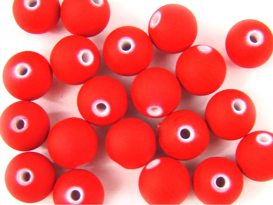 koraliki akrylowe neonowe czerwone