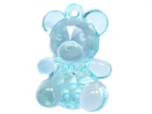 zawieszka plastikowa miś niebieski przeźroczysty