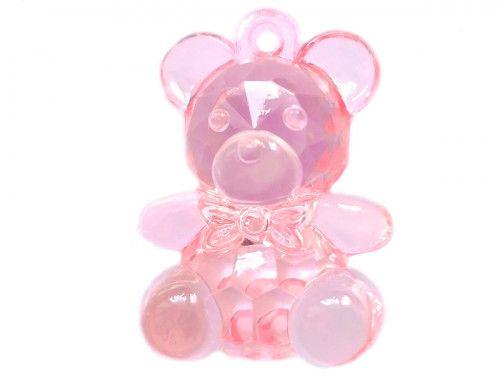 zawieszka plastikowa miś różowy przeźroczysty