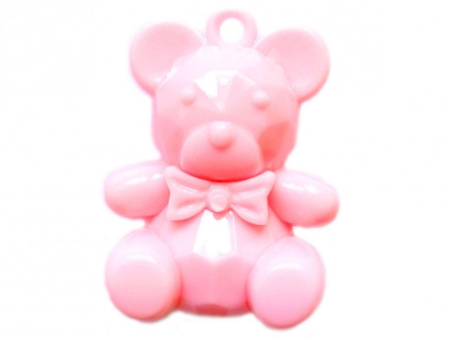 zawieszka plastikowa miś różowy