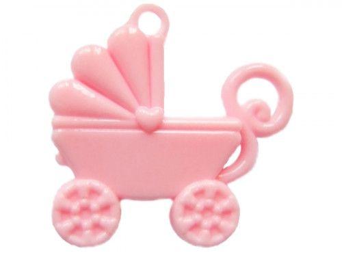 zawieszka plastikowa wózek różowy