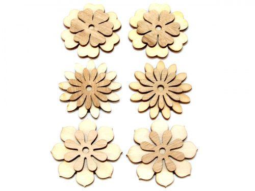 ozdoba drewniana kwiatek 6szt z przylepcem
