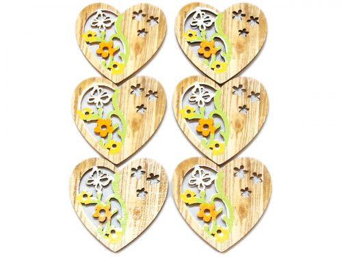 ozdoba drewniana serce 6szt z przylepcem
