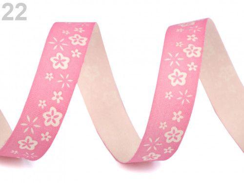 wstążka bawełniana różowa w kwiaty