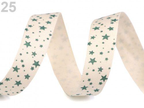 wstążka bawełniana gwiazdki zielone