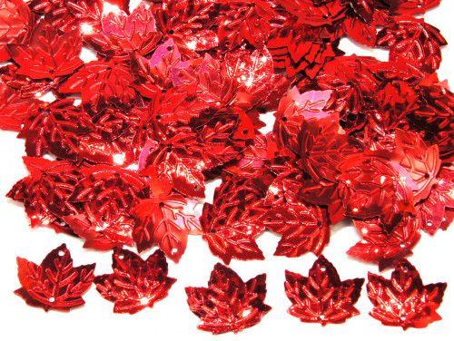 cekiny liście czerwone