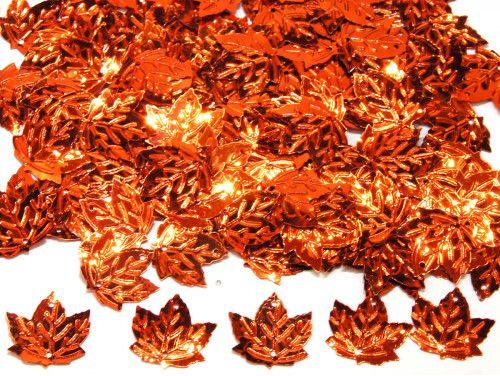 cekiny liście pomarańczowe